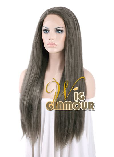 Wig Cowo Lh 034 By Wig 28 quot yaki grey lace front synthetic hair wig