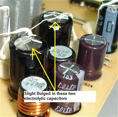 electrolytic capacitor bulging hpf1723 lcd monitor repair