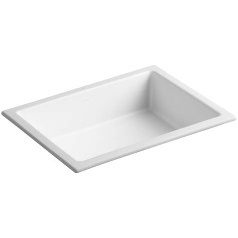 White Rectangular Undermount Bathroom Sink by Shop Kohler Verticyl Honed White Undermount Rectangular