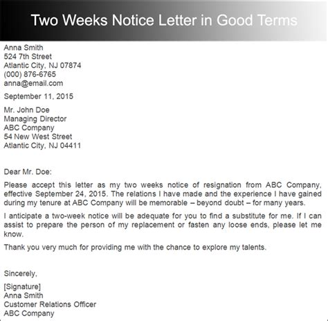 weeks notice letter