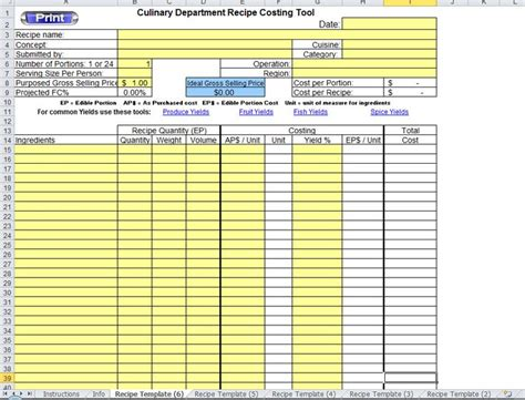 recipe cost card template excel how to make an excel recipe template scalable