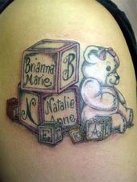 tattoo ideas your child name baby blocks baby names