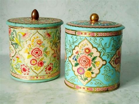 Kitchen Canisters Blue vintage floral tin storage canisters vintage canisters