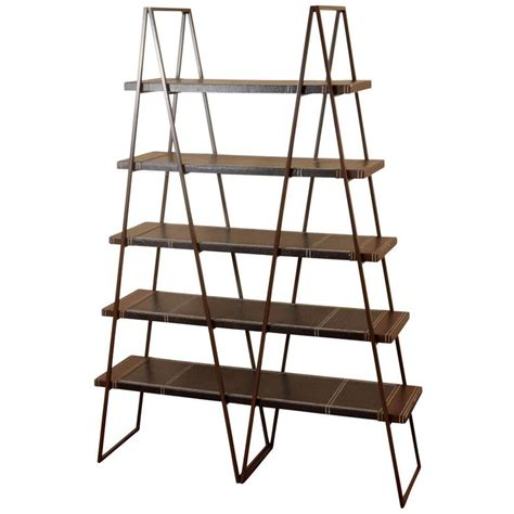 5 shelf bookcase with bronze finished folding metal frame