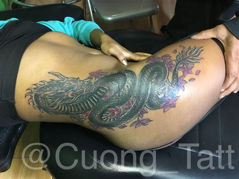 dragon thigh tattoo finish this sick cover up thigh big thank