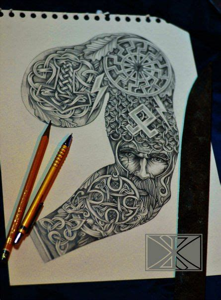 nordic sleeve tattoo designs norse sleeve going from thor s hammer on the chest to