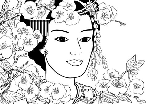 anti stress coloring book japan coloring page japan japan geisha in the