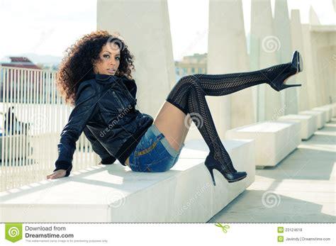 Heels Black Diana black model at fashion with high heels royalty free