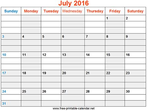2016 monthly calendar template july 2016 monthly calendar printable free calendar
