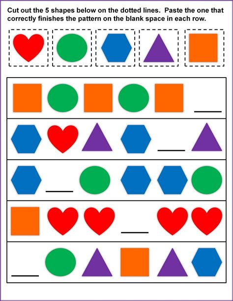 shape pattern activities shapes worksheets for kids activity shelter
