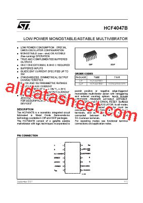 Kr04392 Hcf 4047 Monostable Astable Multivibrator 1 hcf4047b datasheet pdf stmicroelectronics