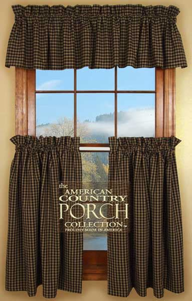 New England Black Tea Dyed Check Curtain Valances