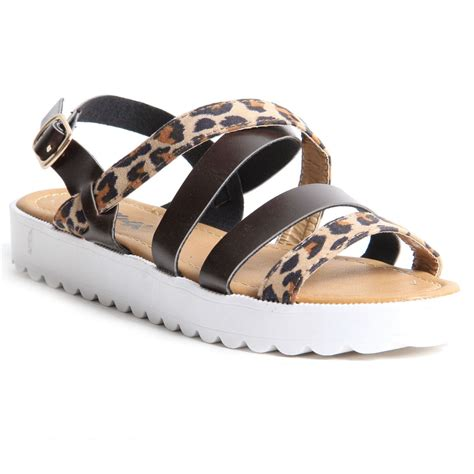 womens buckle up leopard print sandals wedge summer