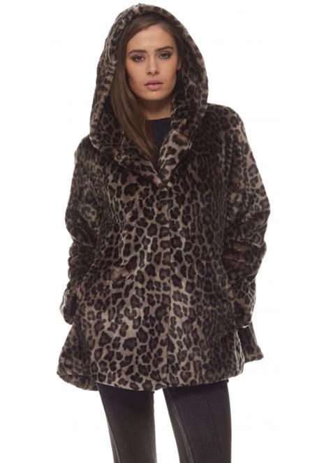 faux fur swing coat marble marble faux fur coat leopard hooded swing coat