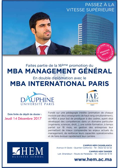 Mba General Management Csus by Mba Management G 233 N 233 Ral Hem Ecole De Commerce Gestion