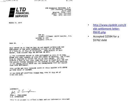 Proof Debt Letter The Debt Settlement Proof