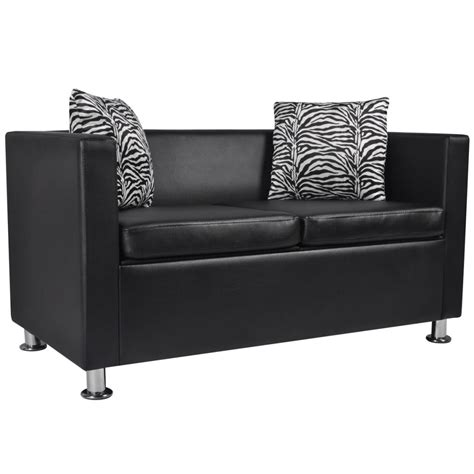 2 seater black sofa artificial leather 2 seater sofa black vidaxl com