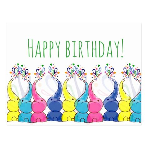 Baby Happy Birthday Card Quot Happy Birthday Quot Card With Cute Baby Elephants Zazzle