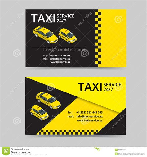 service card template taxi driver card template vector illustration