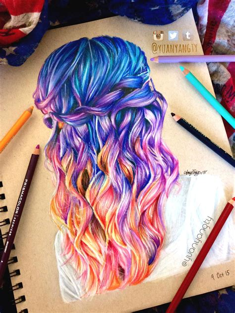 drawing with colored pencils hair colored pencil drawing imgur colour pencil