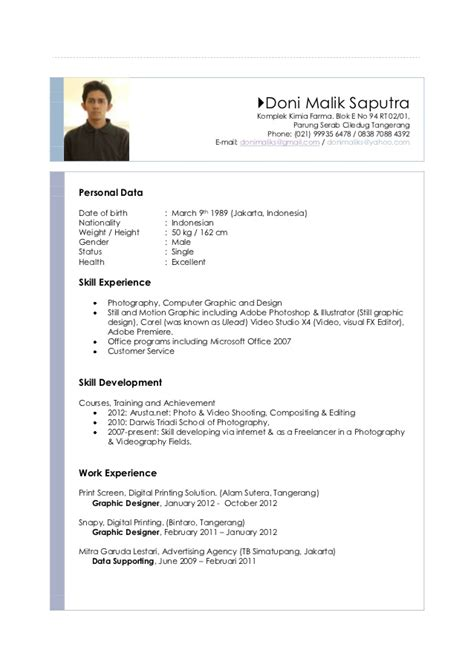 cv languages doni malik saputra resume