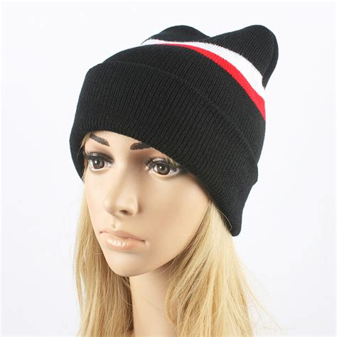 Hat Dng 2016 ms qiu dong the new hat fashion sets stripe knit cap cap outdoor warm edge hat in skullies