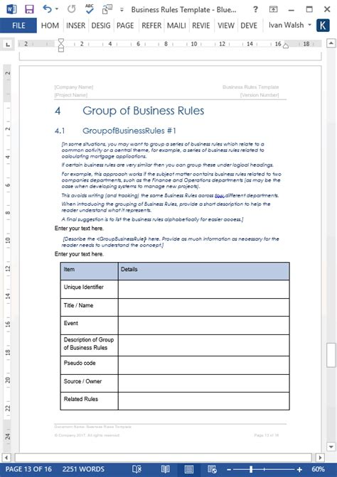 Business Rule Template business templates ms word excel