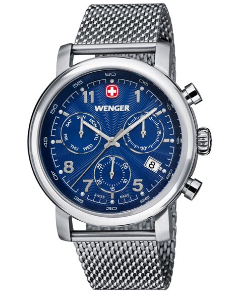 Wenger Vintage Chrono 43mm Swiss Made 011043110 wenger s swiss chronograph classic stainless