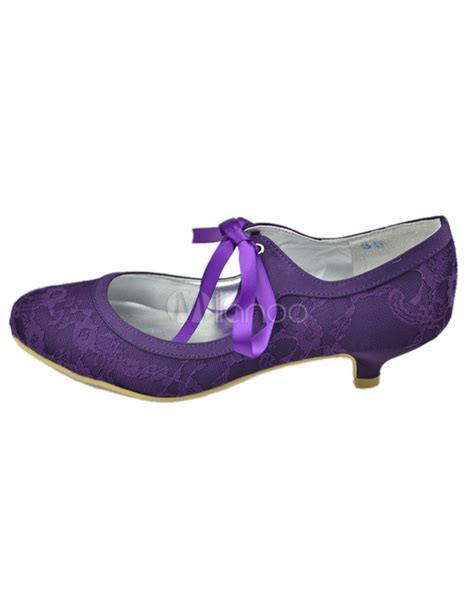 purple flower shoes purple toe flower lace wedding shoes milanoo