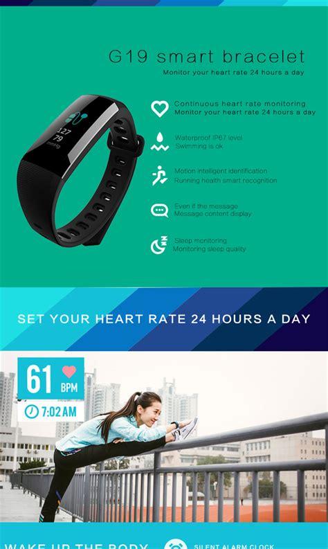 G19 Rate Fitness Tracker Blood Pressure Smart Band g19 smart bracelet rate sport active clock fitness