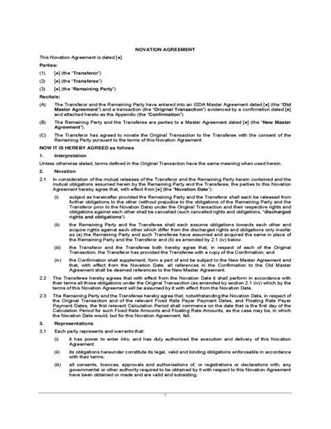 isda master agreement template novation agreement sle free