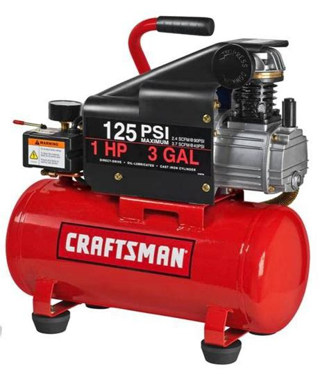 craftsman 3 gallon air compressor craftsman 15310 3 gallon horizontal air compressor with hose and accessory kit sears outlet