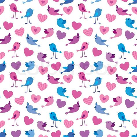 cute valentine pattern seamless valentine pattern with cute birds and hears