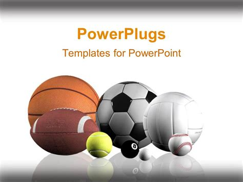 Powerpoint Template Sports Balls Lined Up White Background 2835 Sports Powerpoint Templates