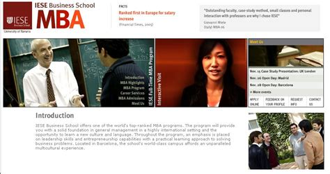 Mba Website by Iese Mba 2006 Iese Launches Interactive Mba Website