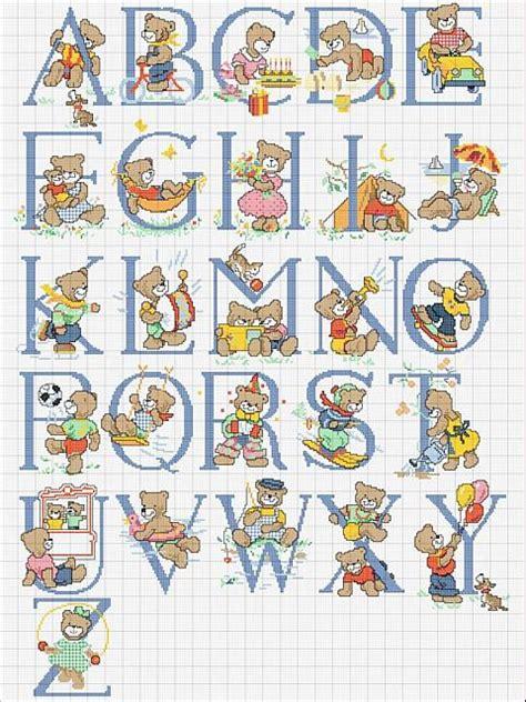 lettere punto croce da stare alfabeto punto croce schema con orsacchiotti bimbo