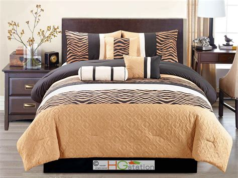 black and tan comforter sets queen 7 pc chenille zebra striped quilted trellis comforter set