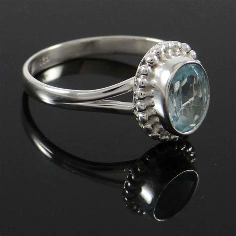 Sterling Silver Handcrafted Jewelry - blue topaz 925 sterling silver ring band handcrafted