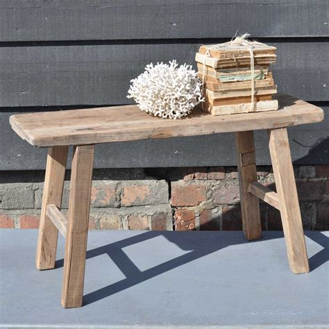 trestle bench reclaimed small rustic trestle bench in solid elm