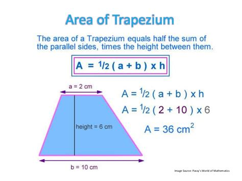 cross sectional area of trapezium measurement formulas 1