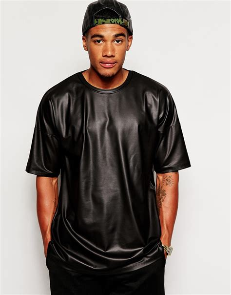 Tshirt Longline Leather Oveersized asos oversized t shirt in leather look jersey in black for lyst