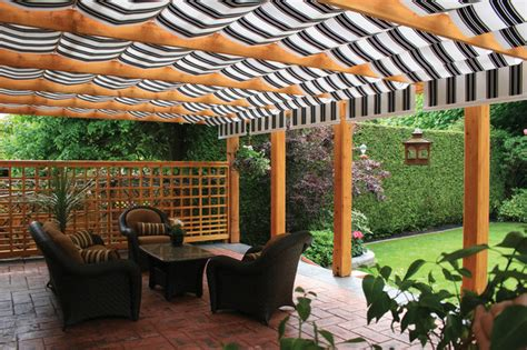 shadetree awnings shadetree canopies between wood beams