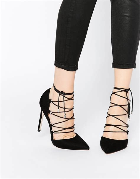 high heels with lace up asos prop lace up pointed high heels in black lyst