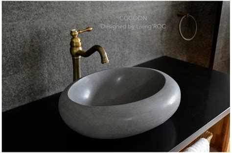 grey bathroom sink 19 quot round oval gray basalt stone vessel sink cocoon moon