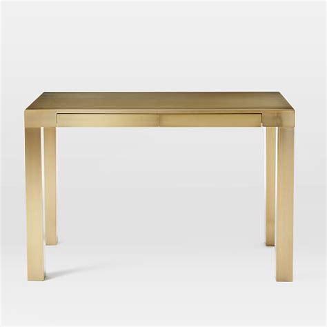 Parsons Desk Blackened Brass West Elm White Parson Desk