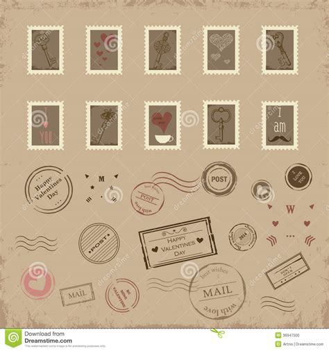 Vector Collection Of Vintage Post Sts For St Valentine Day Stock Vector Illustration Of Postage St Template