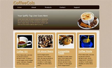 Coffee Shop Html5 And Css3 Style Template Html5 Templates Design Website Template Coffee Shop Website Template Free