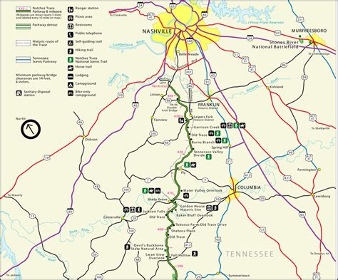 The Trace map of the trace natchez trace project