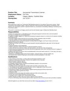Powerline Technician Apprentice Sle Resume journeyman lineman resume bestsellerbookdb