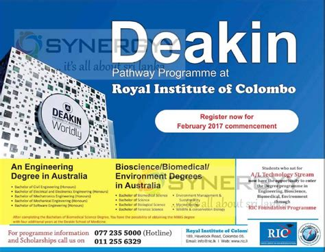 Deakin Australia Mba Requirements by Deakin Australia Degree Programme In Sri